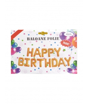 Set baloane folie Happy Birthday aurii