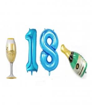 Set baloane aniversare 18 ani albastru
