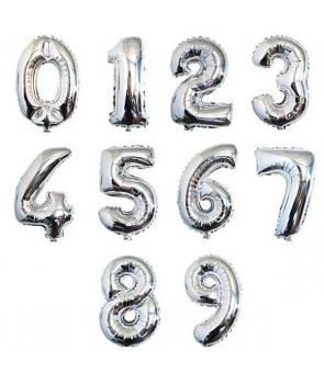 Baloane cifra argintii ,35cm