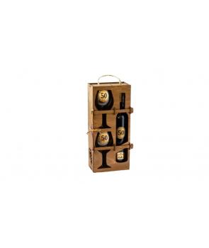 Set cadou sticla de vin cu mesaj si 2 pahare in cutie de lemn-50ani
