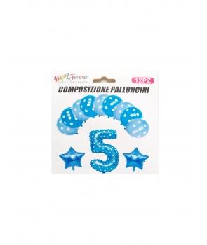 Set baloane aniversare cifra 5