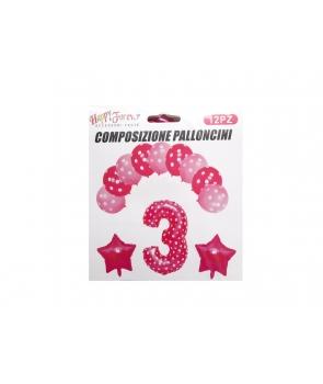 Set baloane aniversare roz -cifra 3
