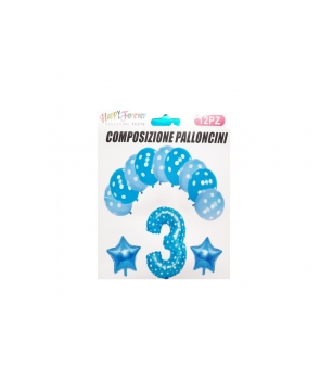 Set baloane aniversare albastre -3ani