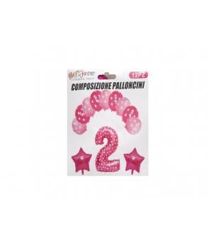 Set baloane aniversare roz-cifra 2