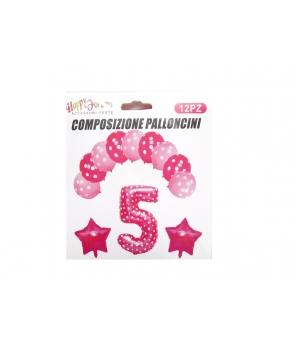 Set baloane aniversare roz -cifra 5