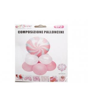 Set baloane petrecere folie bomboana roz