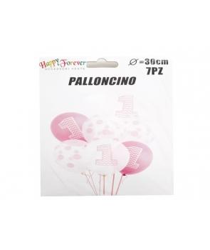 Set baloane latex Prima Aniversare roz