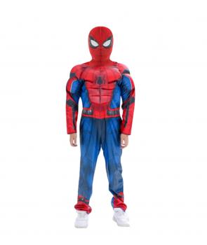 Costum copii Spiderman cu muschi si cagula