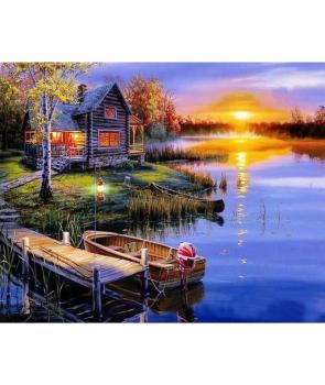 Set pictura pe numere Cabana pe malul apei