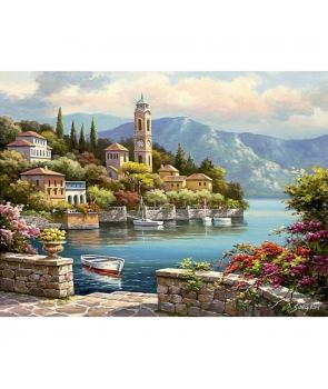 Set pictura numere Peisaj cu barci pe lac de munte