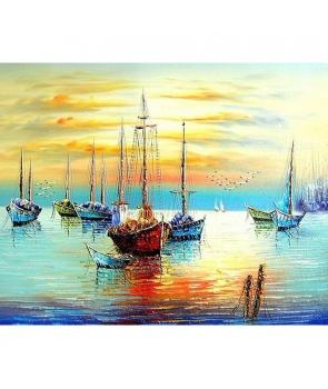 Set pictura pe numere Barci in apusul Soarelui
