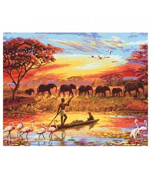 Set pictura pe numere Peisaj cu Elefanti, 40*50cm