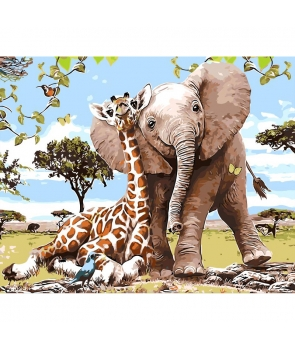 Set pictura pe numere Prietenie elefant si girafa