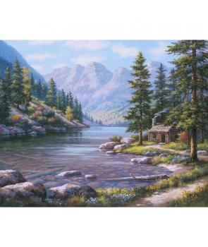 Set pictura pe numere Cabana pe marginea raului, 40*50cm