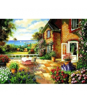 Set pictura pe numere Casuta cu flori 40*50cm