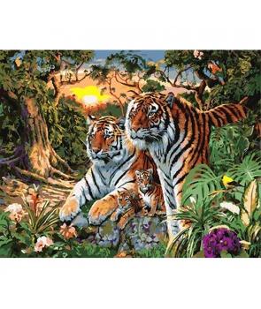 Set pictura pe numere Familia Tigru, 40*50cm