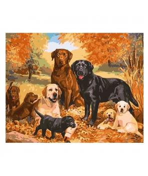Set pictura pe numere Familia de catelusi, 40*50cm
