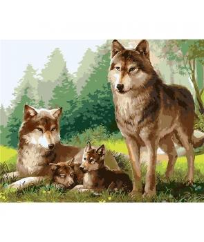 Set pictura pe numere Familia de Lupi in padure, 40*50cm