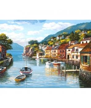 Set pictura pe numere Peisaj cu barci si case, 40*50cm