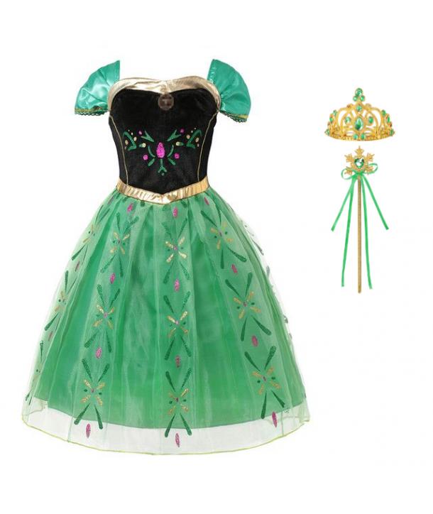 Costum carnaval fete Anna Frozen cu bagheta, coronita