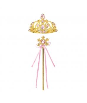 Accesorii printesa coronita, bagheta,roz deschis