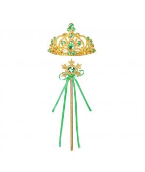 Accesorii printesa coronita, bagheta,verde