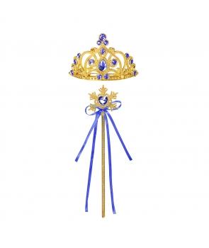 Accesorii printesa coronita, bagheta, albastru