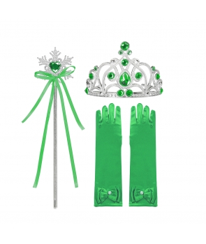 Accesorii printesa manusi, coronita, bagheta, verde