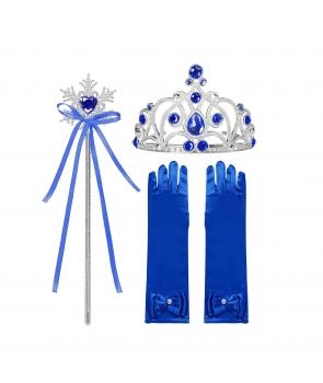 Accesorii printesa manusi, coronita, bagheta, albastru