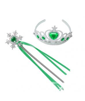 Accesorii printesa argintii cu verde