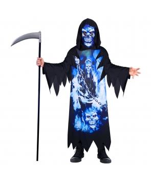 Costum Halloween baieti Fantoma neagra cu imprimeu neon