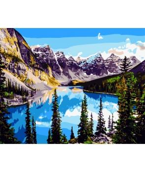 Set pictura pe numere Peisaj Lac de munte
