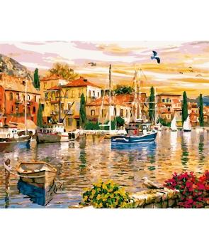Set pictura pe numere Peisaj cu case si barci