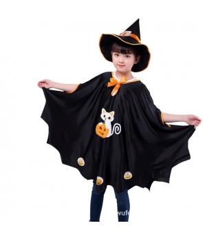 Set Halloween pelerina si palarie negru