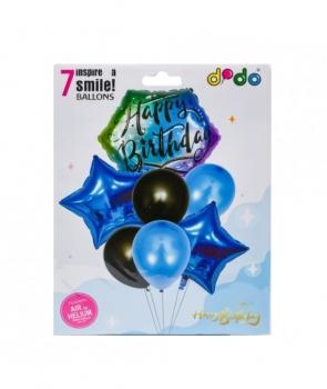 Set 7 baloane petrecere Happy Birthday albastru
