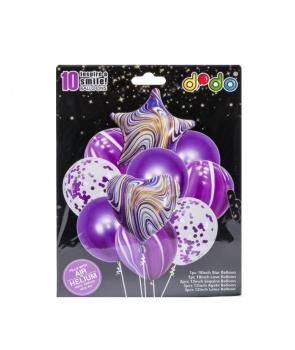 Set petrecere10 baloane marmorate mov
