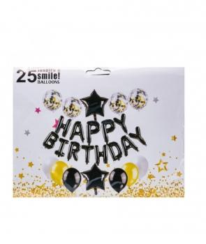 Set petrecere Happy Birthday negru