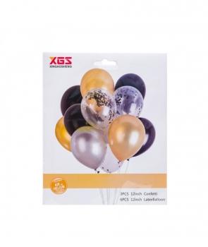 Set petrecere 9 baloane latex cu auriu