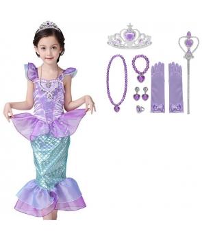 Costum carnaval fete Sirena Ariel cu accesorii