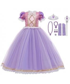 Costum fete Rapunzel cu rochie si accesorii