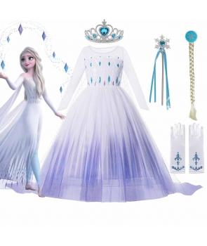 Costum carnaval fete Elsa Frozen cu peruca