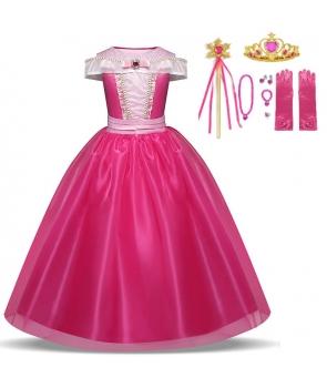 Costum carnaval Aurora cu manusi si accesorii