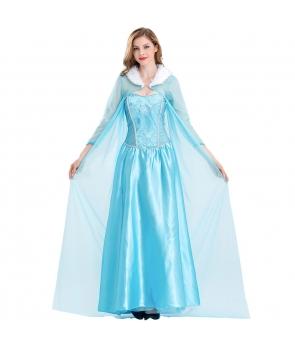 Costum carnaval femei Elsa Frozen cu pelerina