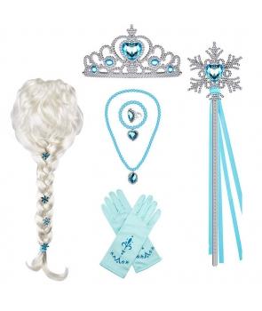 Set accesorii Elsa cu peruca pentru copii