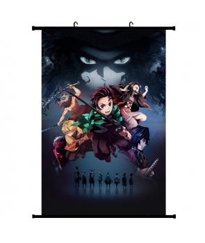 Poster din panza, Demon Slayer cu suport ,5 personaje, 60*90cm