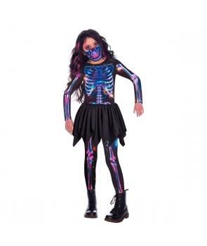 Costum Halloween fete Schelet multicolor cu masca