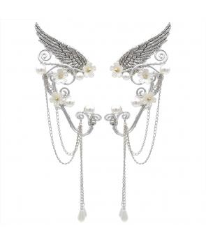 Cercei urechi de Elf ,decorativi, metalici cu perlute, argintii