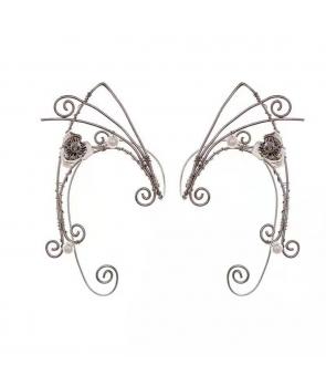 Cercei urechi de Elf , metalici cu floricica, argintii