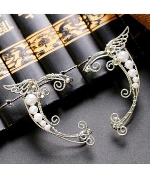 Cercei urechi de Elf , metalici cu perlute, argintii