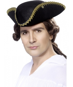 Palarie petrecere Pirat tricorn negru cu auriu